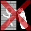 muur graffiti kruis rood