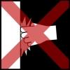 muur slaan kruis rood