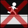 muur speelplaats lopen 2 kruis rood